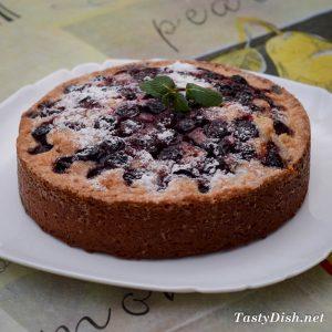 вкуснейший вишневый пирог с замороженной вишней в духовке рецепт с фото