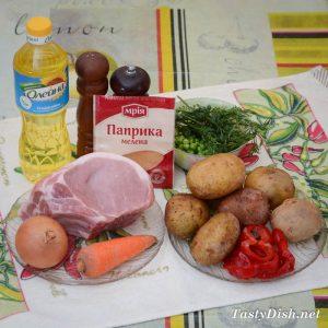 ингредиенты для свинины запеченной с овощами с духовке