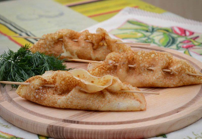 вкусные блины с сыром и зеленью фото