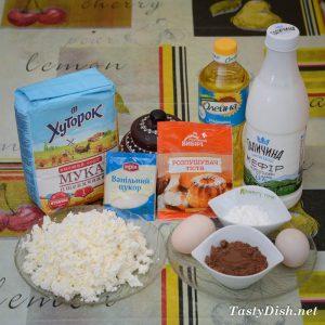 ингредиенты для вкусного шоколадно-творожного пирога в домашних условиях