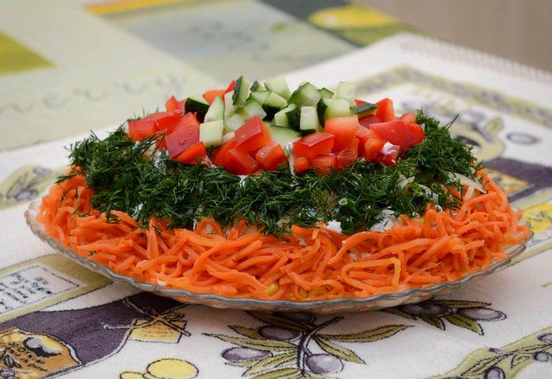 куриный салат с овощами рецепт с фото