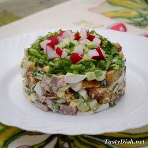 вкусный салат со свининой рецепт с фото пошагово