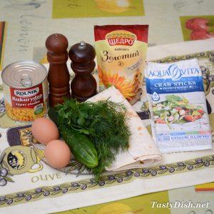простая закуска из лаваша с крабовыми палочками рецепт с фото пошагово
