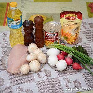вкусный салат с курицей и грибами рецепт с фото пошагово